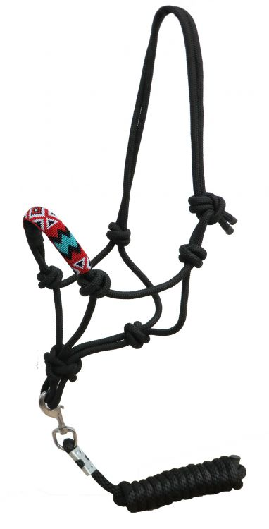Cowboy halter with beaded and leather noseband