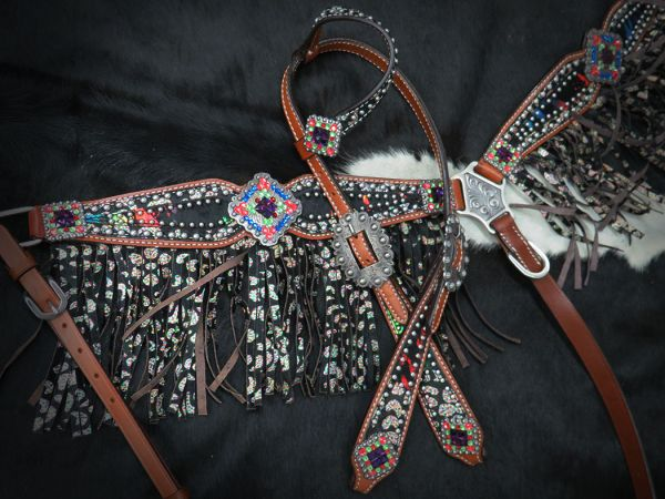 LIMITED EDITION  Bejeweled headstall and fringe breast collar- LIMITED EDITION  Bejeweled headstall and fringe breast collar