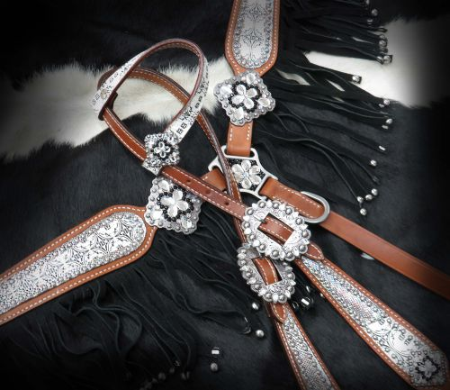 LIMITED EDITION Bejeweled Damask pattern with holographic snake print headstall and breast collar set- LIMITED EDITION Bejeweled Damask pattern with holographic snake print headstall and breast collar set