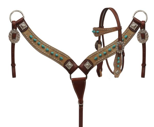 Hair On Cowhide Headstall and Breastcollar with Turquoise Stones