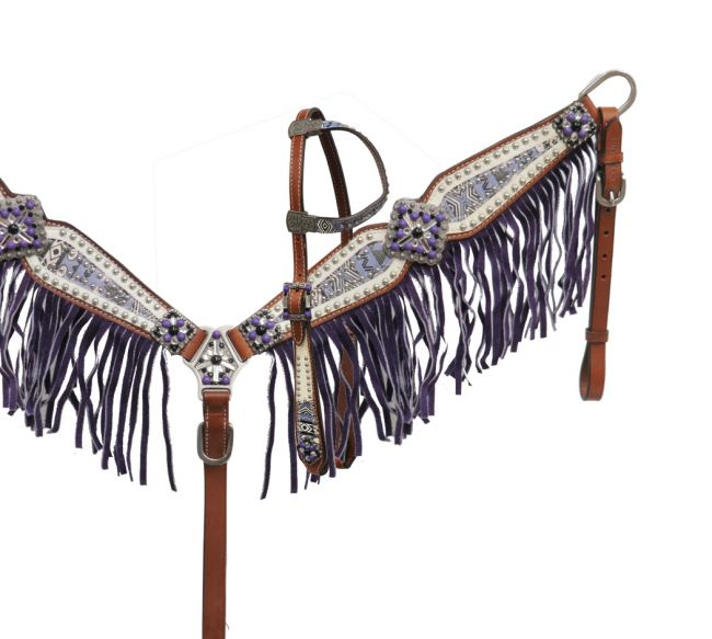 Aztec print headstall and breast collar set