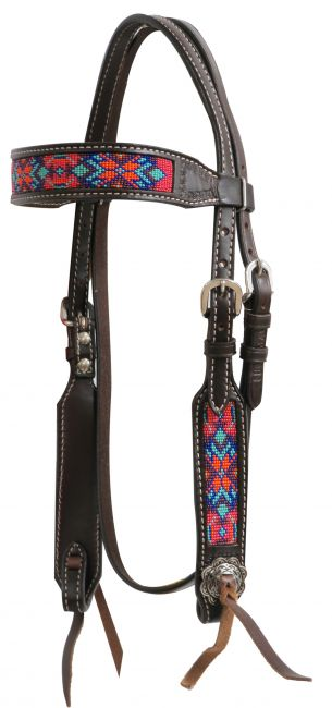Dark chocolate Argentina cow leather headstall with beaded inlays