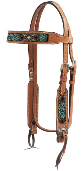 Light Argentina cow leather headstall with beaded inlays
