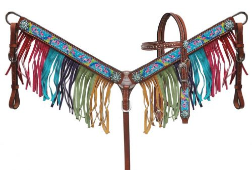 "PONY SIZE  "" Rainbow Pony"" headstall and breast collar set"