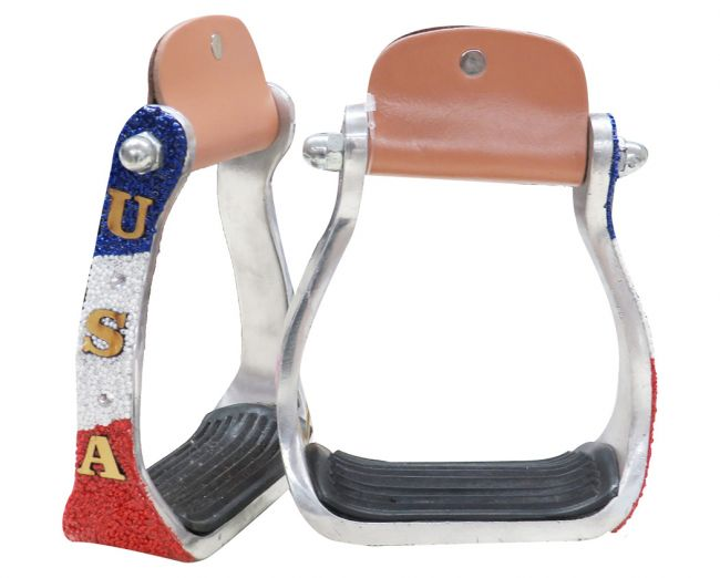 """USA"" Beaded aluminum stirrups."
