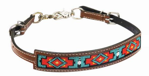 Medium Argentina cow leather wither strap with beaded inlay
