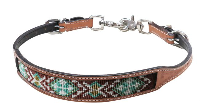Light Argentina cow leather wither strap with beaded inlay