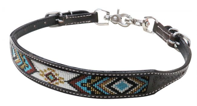 Dark chocolate Argentina cow leather wither strap with beaded inlay