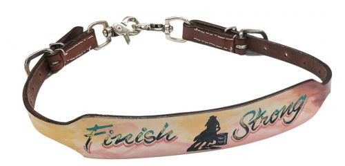 "Hand painted "" Finish Strong"" wither strap with barrel racer design"
