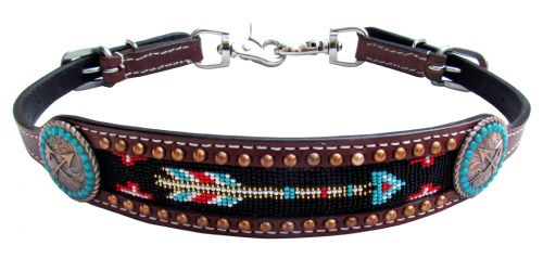 Medium leather wither strap with arrow beaded inlay