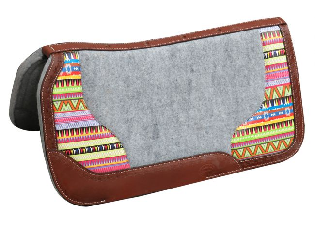 "PONY 26"" X 26"" Argentina cow leather saddle pad with Aztec print"