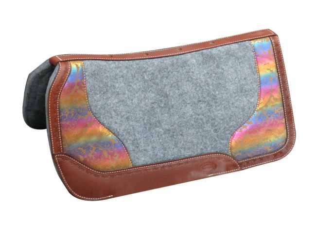 "PONY 26"" X 26"" Argentina cow leather saddle pad with metallic rainbow paisley print"