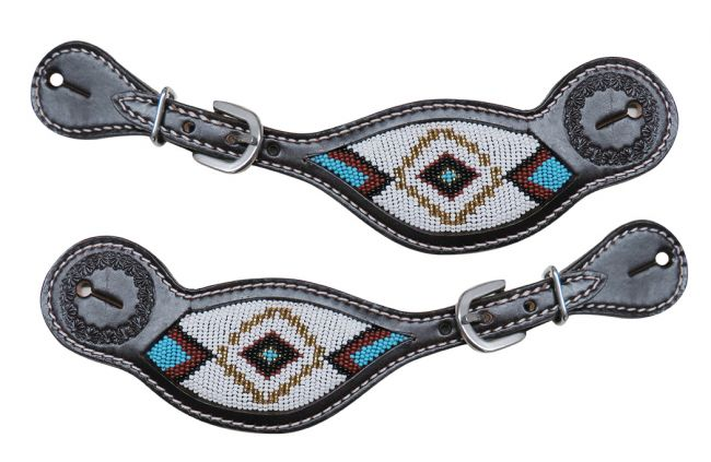 Dark chocolate Argentina cow leather spur straps with beaded inlay