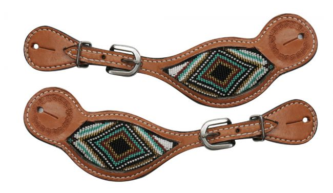 Light Argentina cow leather spur straps with beaded inlay