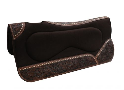 "31"" x 32"" x 1"" Brown felt, built up pad with floral tooled wear leathers"
