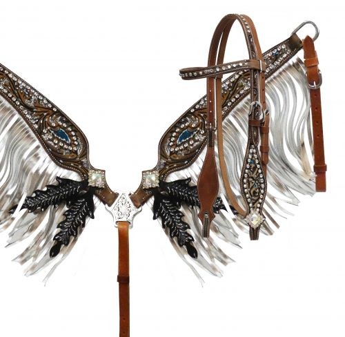 Silver glitter painted headstall and breast collar set