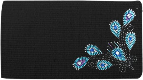 "38""x 34"" 5lb 100% Woven New Zealand wool saddle blanket with crystal rhinestone peacock feather design"