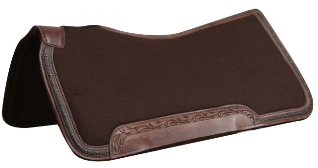"31"" x 32""  100% Wool top, memory felt bottom saddle pad with leather trim"