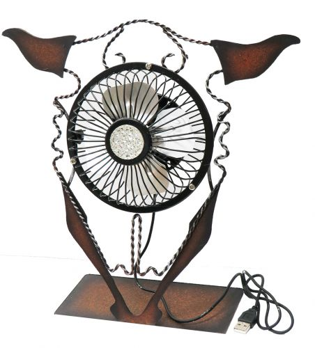 Metal steer skull USB desk fan