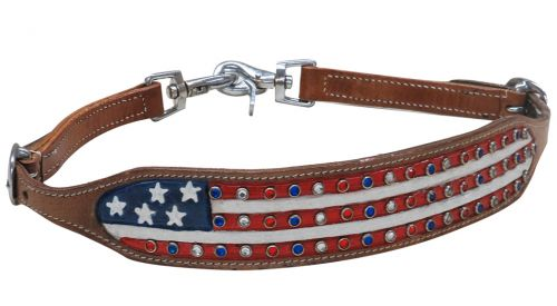 American flag wither strap with crystal rhinestone studs