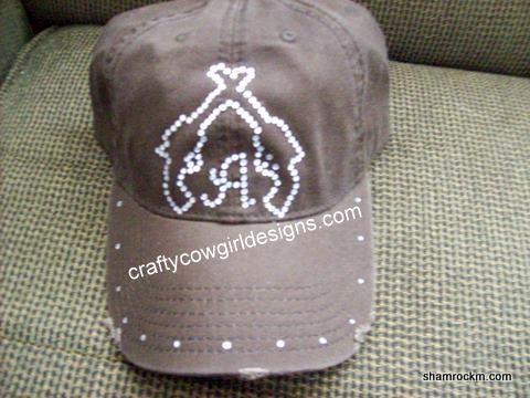 Distressed Bill Ball Cap-distressed bill ball cap, rhinestone cap