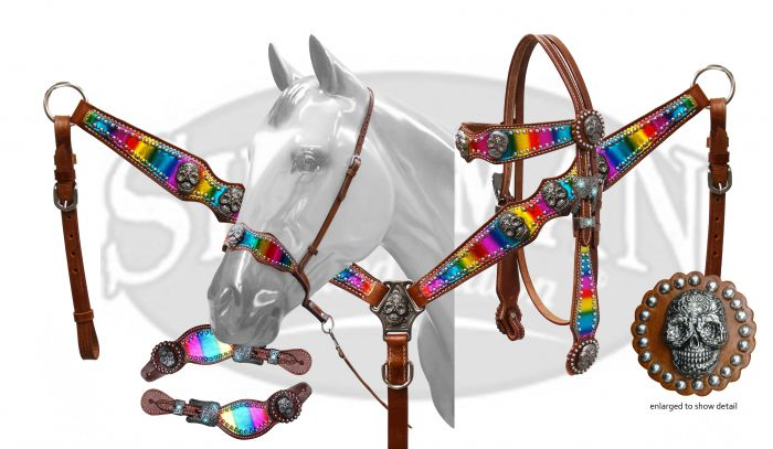 LIMITED EDITION  4 Piece Metallic rainbow and sugar skull concho set-LIMITED EDITION  4 Piece Metallic rainbow and sugar skull concho set