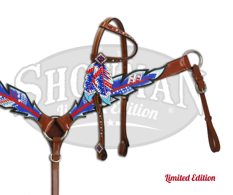 LIMITED EDITION Red, White and Blue feather headstall and breast collar-LIMITED EDITION Red, White and Blue feather headstall and breast collar