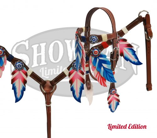 LIMITED EDITION  Red, White and Blue feather headstall and breast collar- LIMITED EDITION  Red, White and Blue feather headstall and breast collar