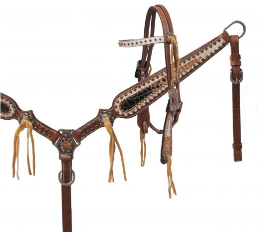 LIMITED EDITION Alligator print headstall and breast collar set-LIMITED EDITION Alligator print headstall and breast collar set