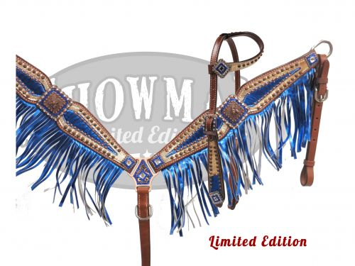 LIMITED EDITION Bejeweled blue and gold barrel racer headstall and breast collar set- LIMITED EDITION Bejeweled blue and gold barrel racer headstall and breast collar set