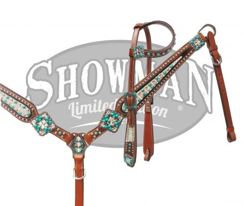LIMITED EDITION Bejeweled turquoise stone headstall and breast collar set- LIMITED EDITION Bejeweled turquoise stone headstall and breast collar set