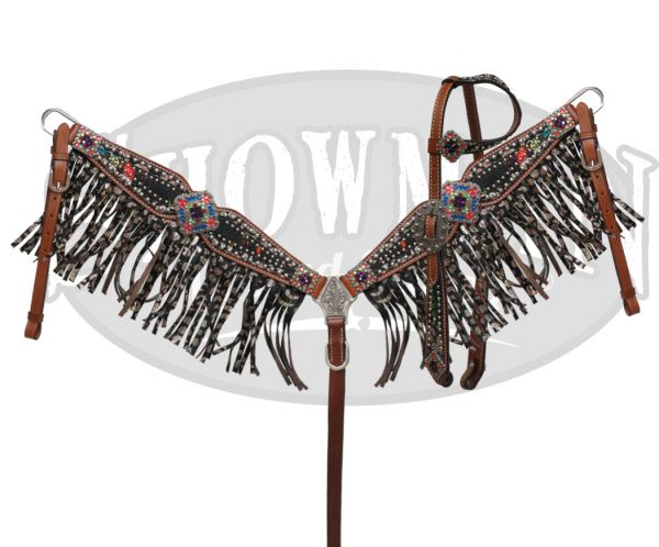 LIMITED EDITION  Bejeweled headstall and fringe breast collar