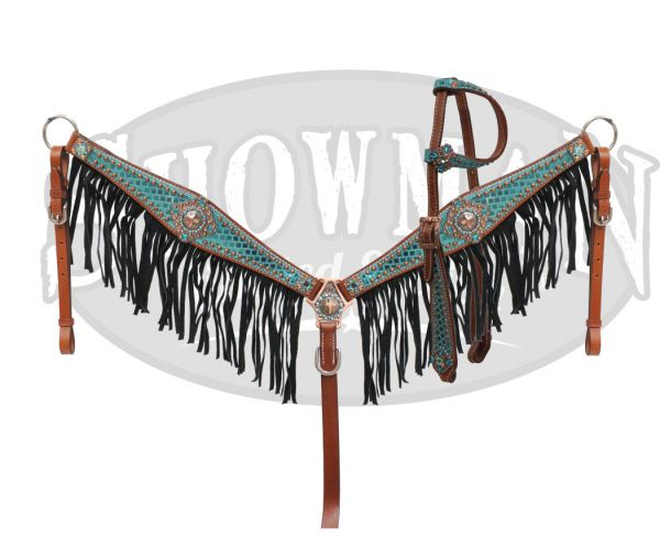 LIMITED EDITION  Bejeweled headstall and fringe breast collar-LIMITED EDITION  Bejeweled headstall and fringe breast collar