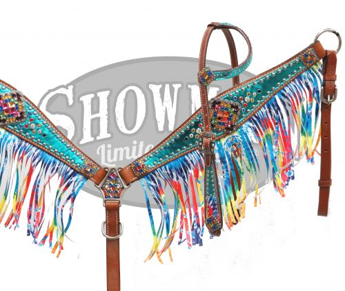 LIMITED EDITION Bejeweled tie dye headstall and breast collar set-LIMITED EDITION Bejeweled tie dye headstall and breast collar set