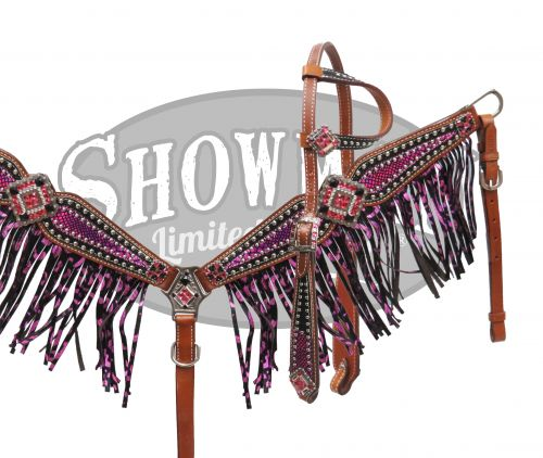LIMITED EDITION Bejeweled purple metallic shimmer paisley print headstall and breast collar set-LIMITED EDITION Bejeweled purple metallic shimmer paisley print headstall and breast collar set