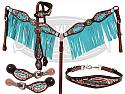 LIMITED EDITION  5 Piece tooled feather set with turquoise fringe