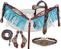 LIMITED EDITION  5 Piece ornate print design set with turquoise fringe