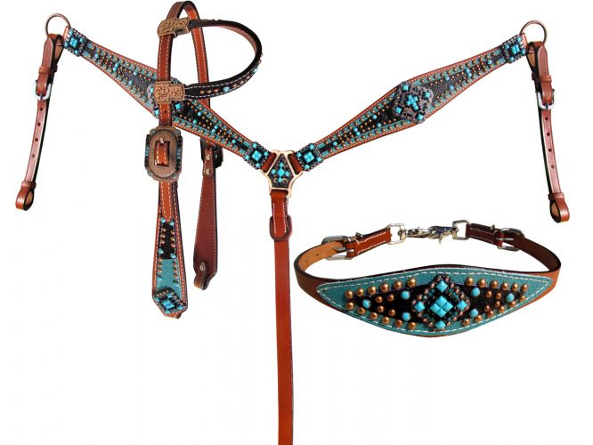 LIMITED EDITION Turquoise and Black Stingray 4 Piece HS/BC Set