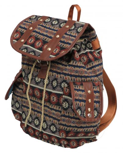 Southwest embroidered backpack with double pockets