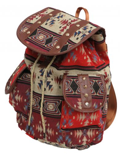 Red southwest embroidered backpack with double pockets
