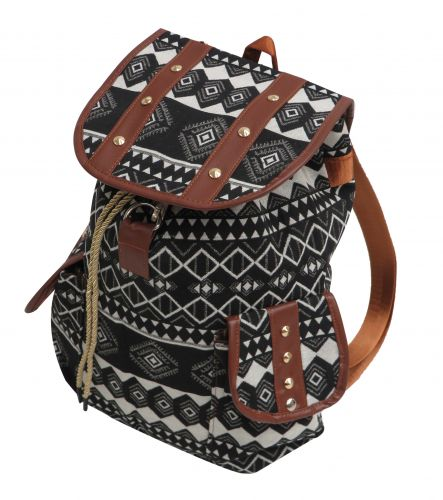 Black and white southwest embroidered backpack with double pockets
