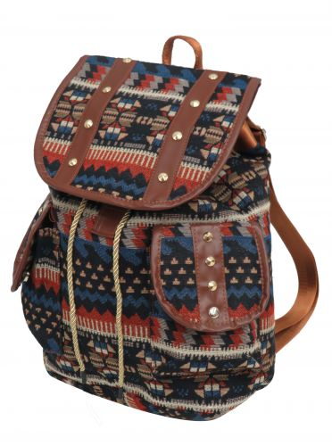 Blue southwest embroidered backpack with double pockets