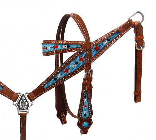 Headstall and breast collar set with beaded inlays