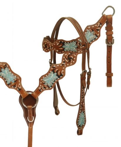 Painted filigree tooled headstall and breast collar set- Painted filigree tooled headstall and breast collar set