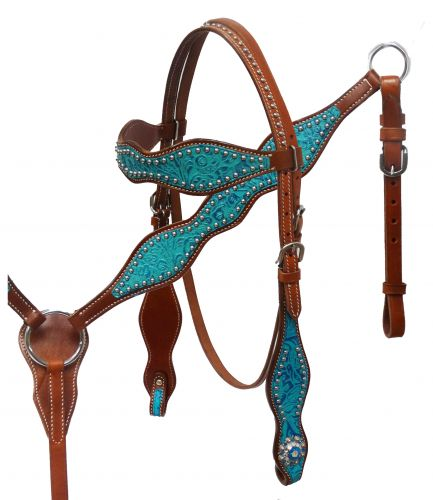 Headstall and breast collar set with filigree embossed overlay- Headstall and breast collar set with filigree embossed overlay