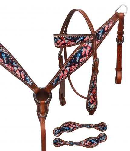 Feather print headstall and spur strap set-Feather print headstall and spur strap set