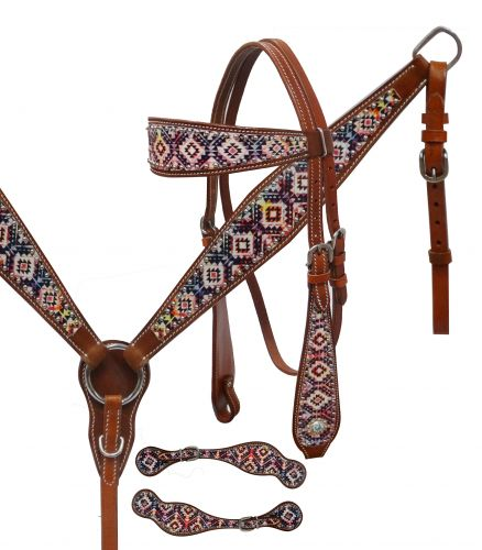 Navajo diamond print headstall set- Navajo diamond print headstall set