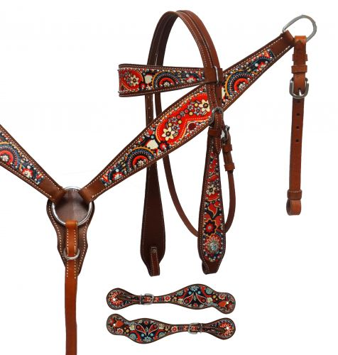 Paisley print headstall, breast collar and spur strap set-Paisley print headstall, breast collar and spur strap set