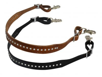 "1.25"" wide leather wither strap with crystal studs"