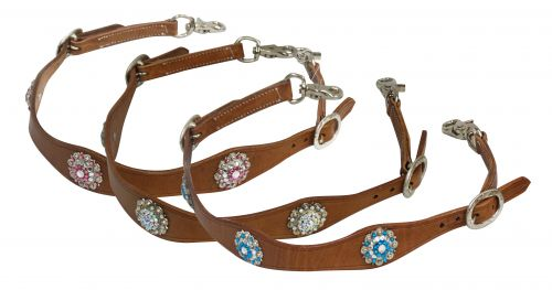 Scalloped leather wither strap with crystal rhinestone conchos